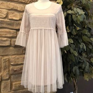 She and Sky Tulle Dress  Pleated Semi Sheer Size S